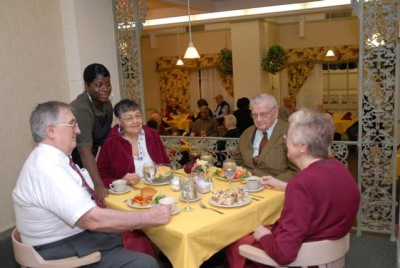 Seniors at the full service restaurant within the Oak Park Arms